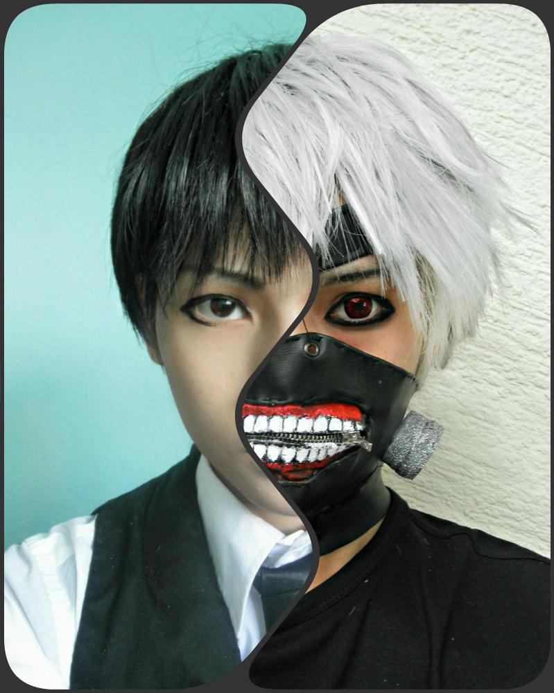 Ken Kaneki Black and White Cosplay by OzakuRan