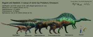 Predatory Dinosaur Size Chart