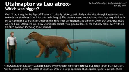 Utahraptor vs Panthera Atrox Size
