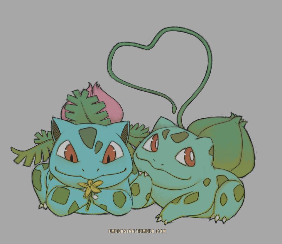 Bulbasaur and Ivysaur by CrewOfTheBloodyDawn
