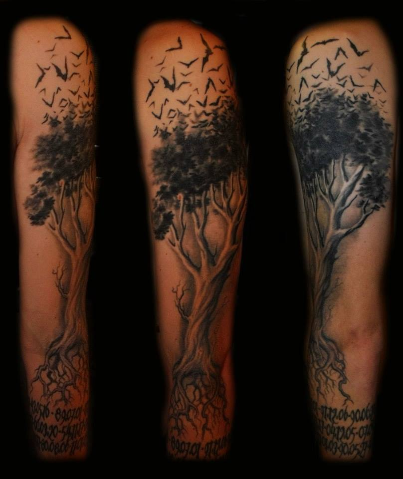 tree and bats and roots tattoo by dzsedi on deviantart. Black Bedroom Furniture Sets. Home Design Ideas