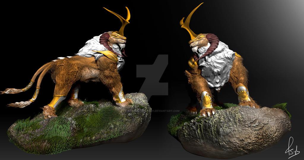 concept lion sculpt by paramveersingh1