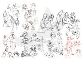 People and monster sketches by weremagnus