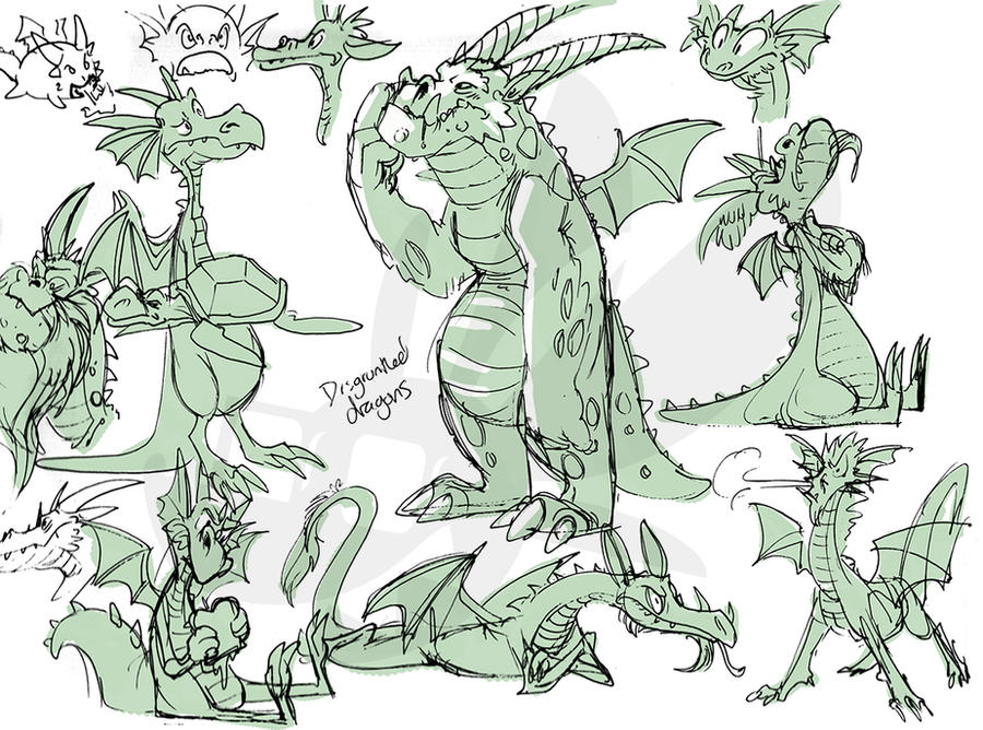 Worksketch: Disgruntled dragons by weremagnus