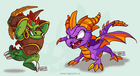 Dinorang and Spyro by weremagnus