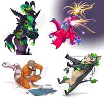 Nexus, Firecracker, wesleyBolt + Forrest by weremagnus