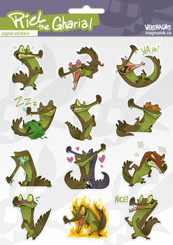 Riel the Gharial - digital sticker set
