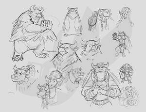 Tauren druid sketches (Tarhoof)