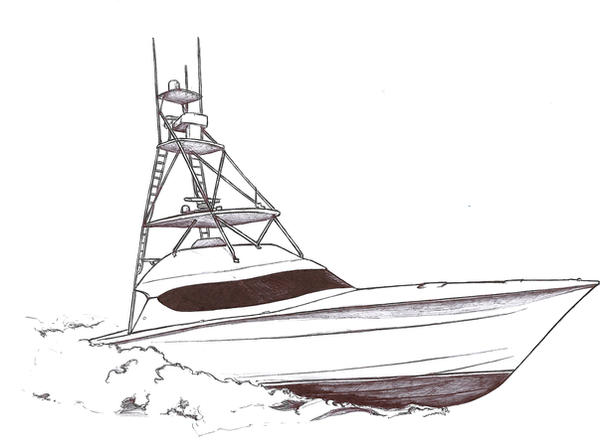 Art Line Yacht Design : Sport fish boat ink drawing by drucanuck on deviantart