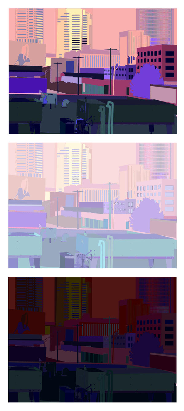Cityscape in warm and cool colors by ArtsyKey