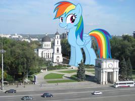 Rainbow's city stroll by TheOtterPony