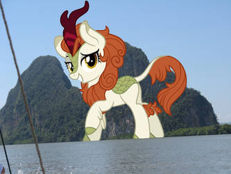 Giant Autumn Blaze visits by TheOtterPony
