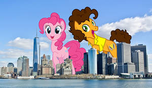 Pinkie and Cheese party in a tiny city