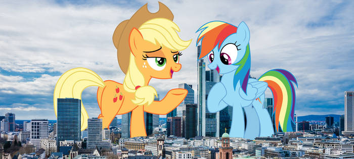 Applejack and Rainbow come to town