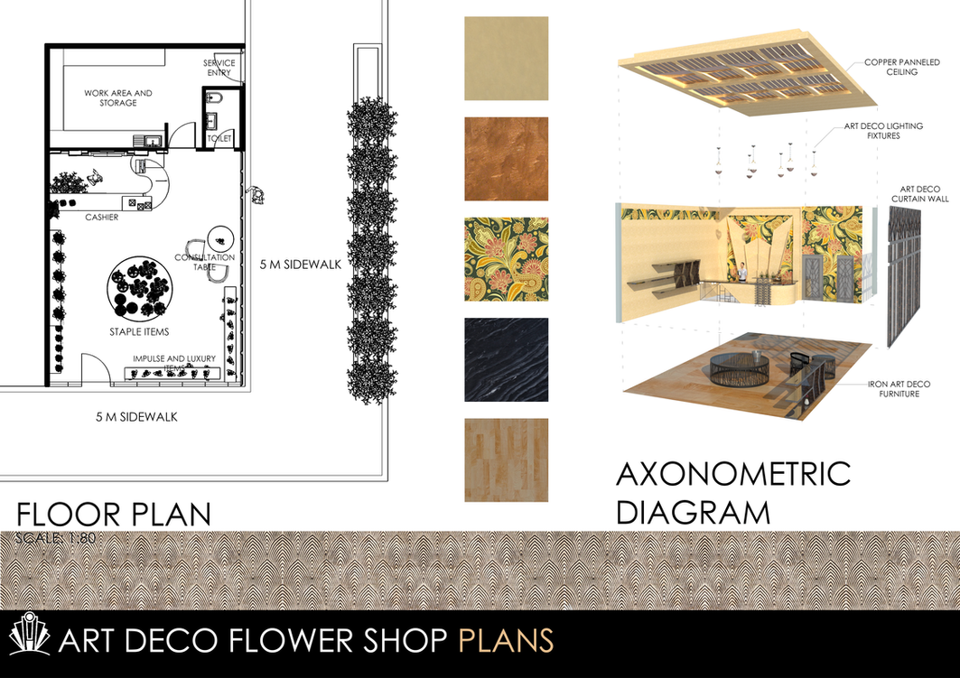 Art deco flower shop architectural interior 2 by bitoyski for Flower shop design layouts