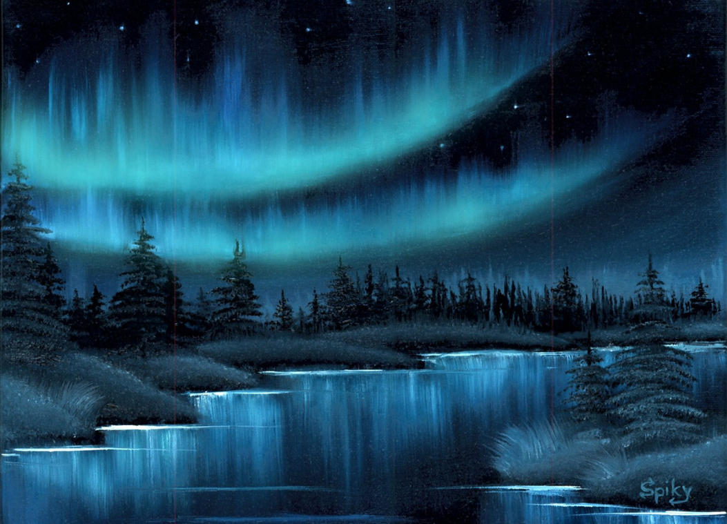 The northern lights by spikylein on deviantart for Lights for paintings