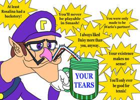 Waluigi Drinking Tears Meme by MarioLuigi721