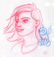 Girl and Little Blue Thing by fabianfucci
