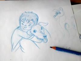 Kid and dog by fabianfucci