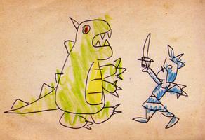 Dragon and knight by fabianfucci