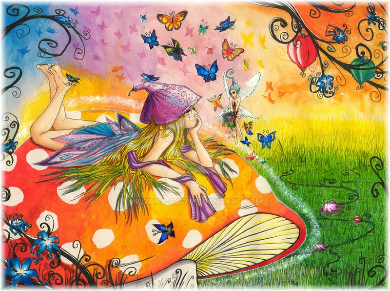 a happy colorful world by KizUna-Cat