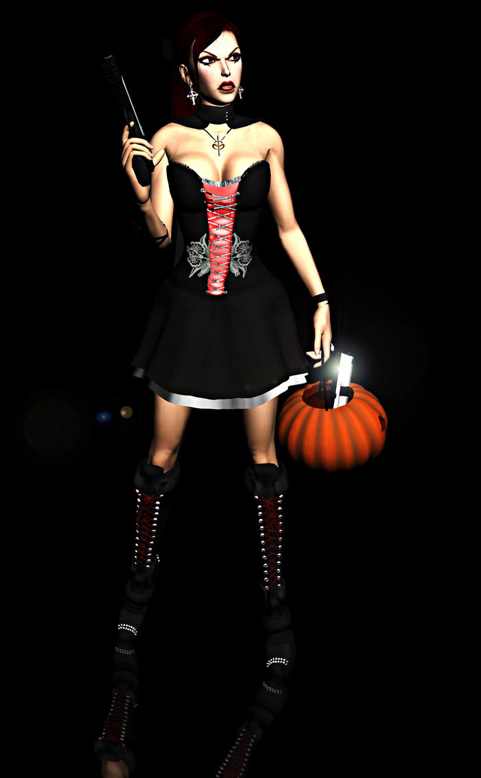 Lara Croft Halloween Dress Render by Rockeeterl