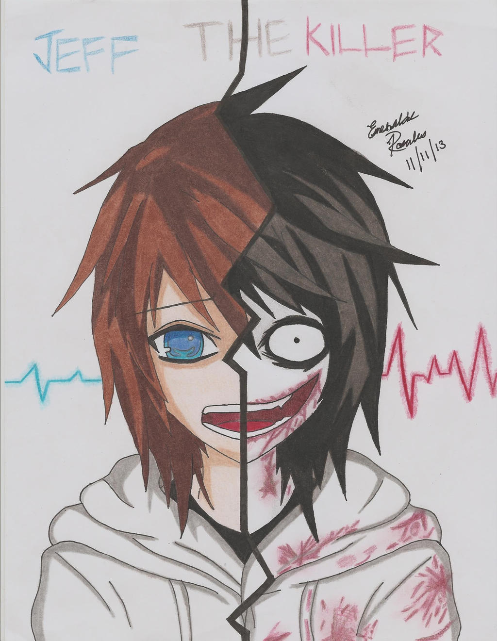 It is a graphic of Decisive Jeff The Killer Anime Drawing