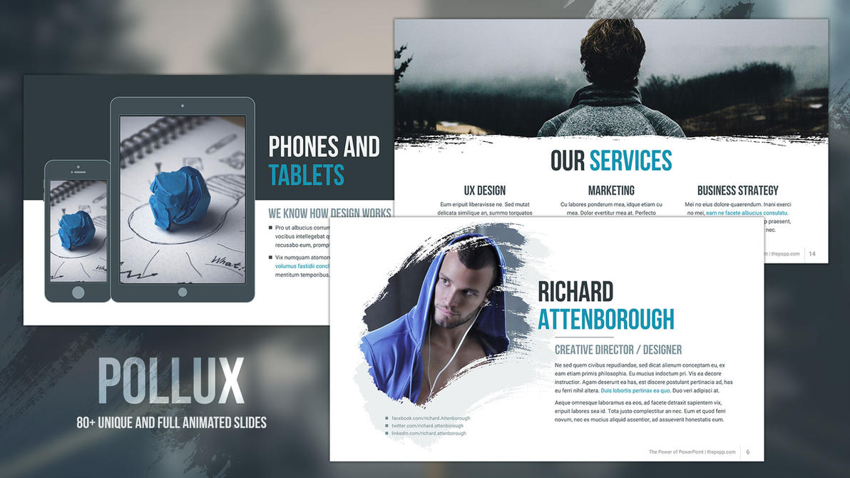 Poster design with powerpoint template - Pollux Free Powerpoint Template By Junakizaki