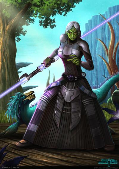 Delara Seranne Sith Mirialan and her varactyl pet by Aliens-of-Star-Wars