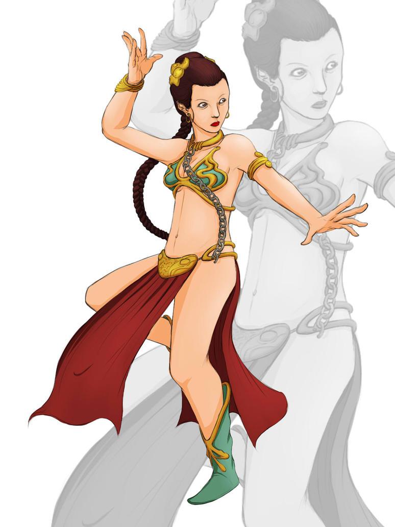 Star Wars Slave Leia Dancing by Diomahesa by Aliens-of-Star-Wars