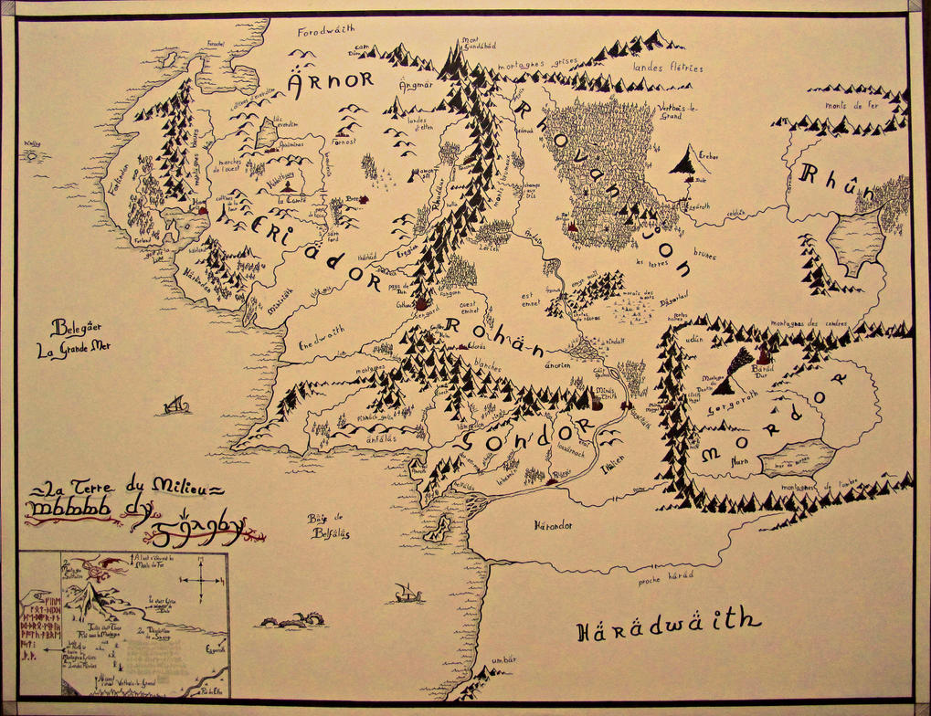 middle earth map by ade darkstone
