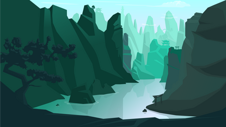 Asian mountains by RasRT