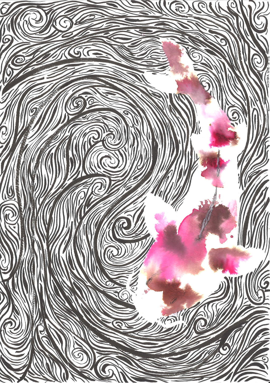 Inktober 2018 - Day 1 - Water element: koi by jainas