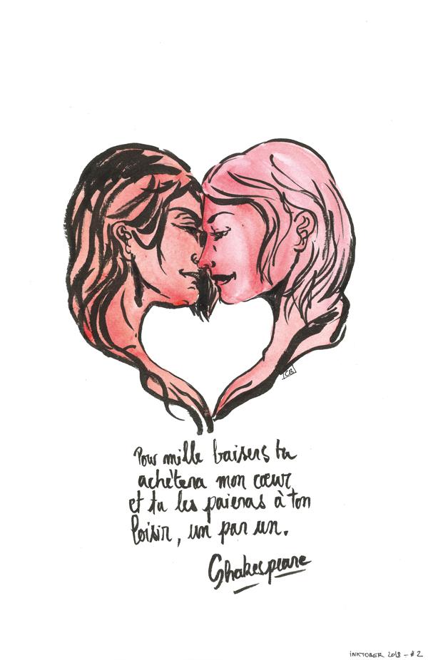 Inktober 2018 - Day 2 -  A thousand kisses deep by jainas