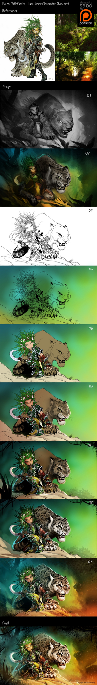 Lini - Pathfinder Fanart - work stages by AlexSabo