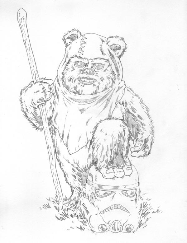 how to draw an ewok cartoon