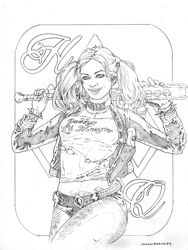 Harley quinn pencils by jasonbaroody