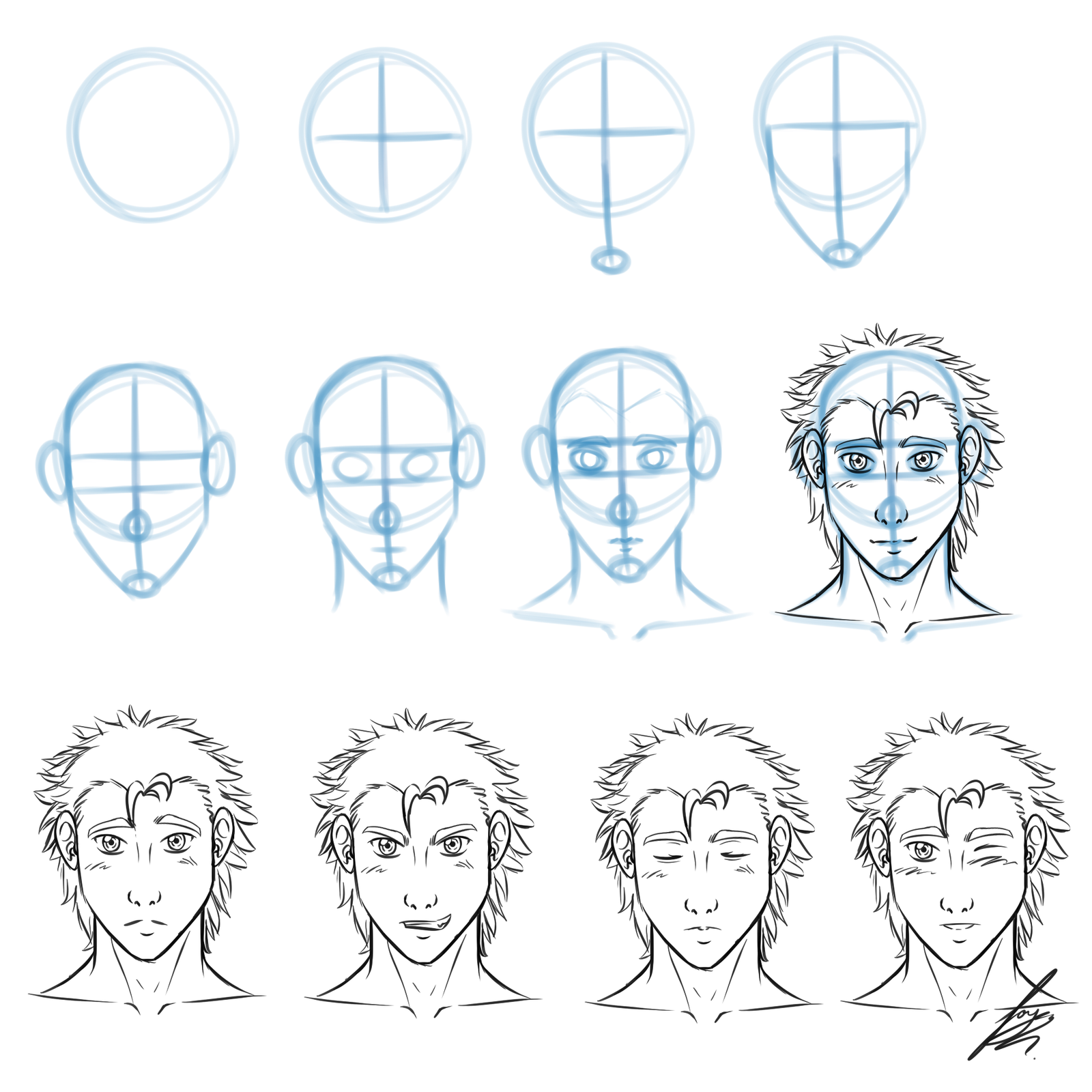 Scribble Drawing Tutorial : Simple front view face drawing tutorial by juacamo on