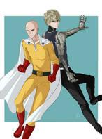Saitama and Genos by chiisanakyojin
