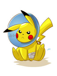 Cone of shame Pikachu by Styleuniversal