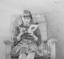 Girl Cross-stitching by hank1