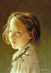 Girl with Toy Alligator, Oils by hank1