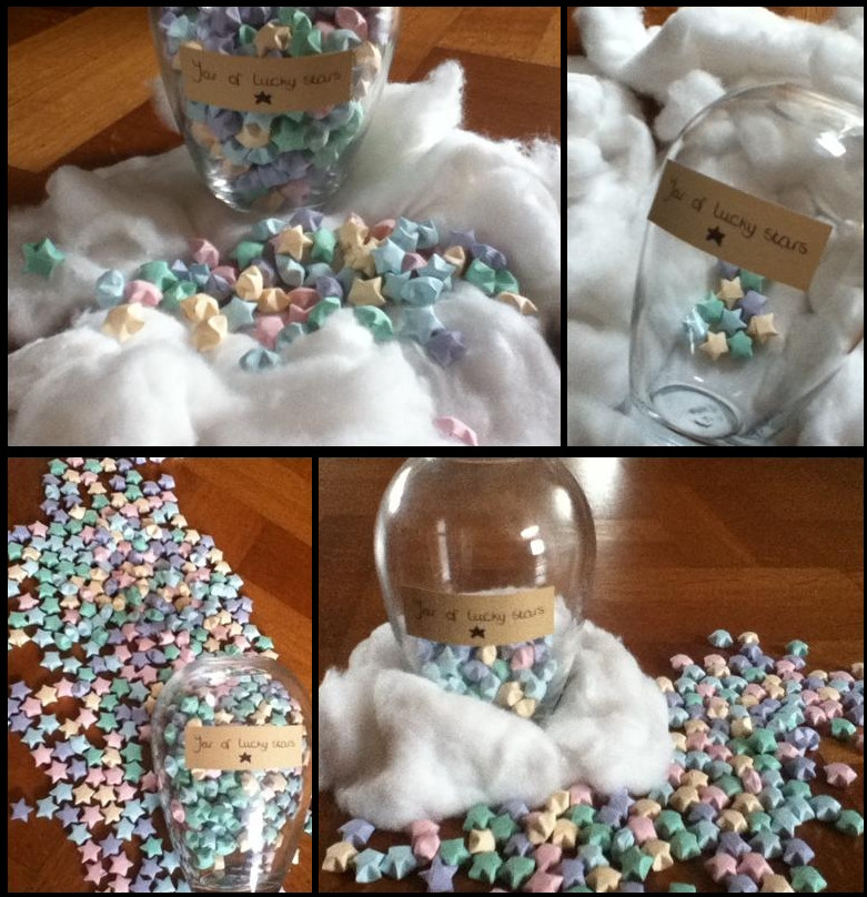 Origami jar of lucky stars by sophiewithlove on deviantart for How to make lucky paper stars