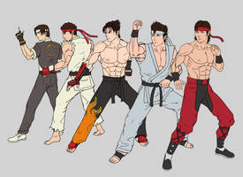 Fighting game protagonists flats