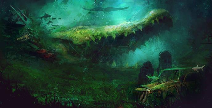 Underwater junkyard of Tinyan