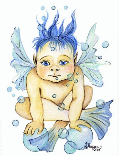 Bubble Water Baby by Maria-van-Bruggen