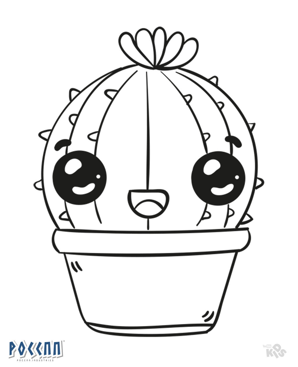 Hedgehog Cactus Kawaii To Color Lineart By