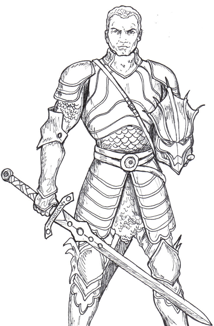 D Line Drawings Quest : Dungeons and dragons paladin by spake on deviantart