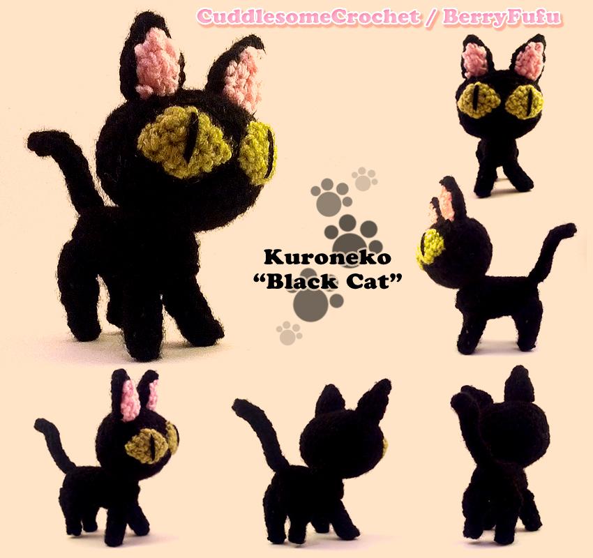 Black Cat - Finished Handmade Amigurumi Crochet Doll Home Decor ... | 800x850