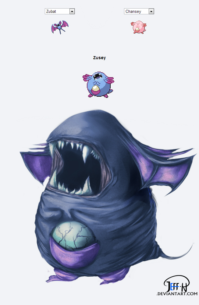Zubat + Chansey = Zusey by Jeff-H